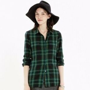 Madewell green plaid flannel size XS